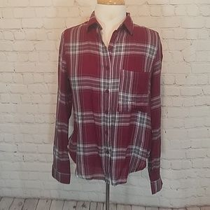Maroon and gray plaid shirt